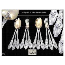 RAVINET & D'Enfert - Art Nouveau, Antique French Sterling Silver Dessert Flatware Set. Iris Pattern.