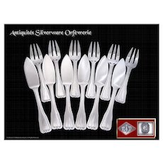 PUIFORCAT - Beautiful Antique French Sterling Silver Fish Flatware Set for 6 Guests Minerve