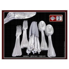 PUIFORCAT - Luxurious & Elegant, Antique French Sterling Silver Dessert Flatware Set for Six Guests