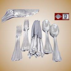 PUIFORCAT - Luxurious & Elegant, Antique French Sterling Silver Dessert Flatware Set for Six Guests