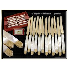 Edouard ERNIE -  Prestigious French  SIlver, Vermeil & Mother-of-Pearl Dessert or Hors-d'oeuvre Knives - For 12 Guests