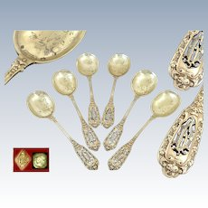 Soufflot - Antique French Sterling Silver & Vermeil Ice Cream Spoons  for 6 Guests
