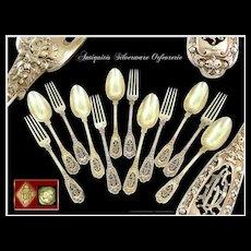 Soufflot - Antique French Sterling Silver & Vermeil Dessert or Hors-d'oeuvre Flatware set