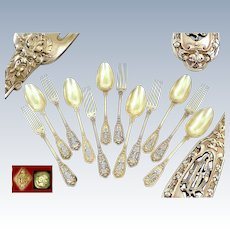 Soufflot - Antique French Sterling Silver & Vermeil Dessert or Hors-d'oeuvre Flatware set