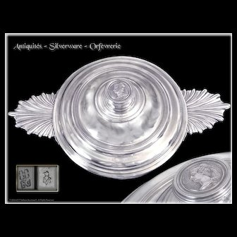 Very Rare - Antique French Sterling Silver Louis XV Era Covered Bowl Clermont-Ferrand & Paris XVIII°