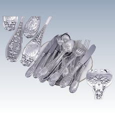 HENIN& Cie - Antique French  Sterling Silver Dinner Flatware Set With Mascarons