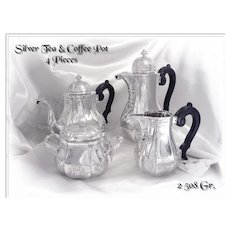 Regence Style - Antique Belgian Silver Tea and Coffee Pot Set -  4 PC.