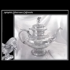Antique Danish Silver  Engraved Tea Pot  with Arms and Crown