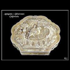 Early 18th C. Antique Italian Sterling Silver & Vermeil Box XVIII°s.