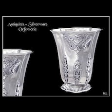 Regency Style - Antique Sterling Silver  Beaker or Goblet with Lambrequins
