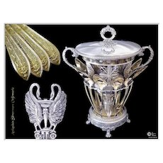 Early 19th century - C.P Vahland - Georgous Antique French Sterling Silver Jam Pot with Swans & Vermeil Spoons