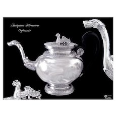 Georgeous  Antique Swiss Sterling Silver TeaPot with Griffon Geneva XIX°s.