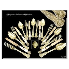 Antique French Sterling Silver Dessert / Hors-d'Oeuvre Flatware Set For Six Guests 3 pieces Place Setting