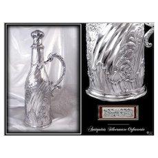 Alphonse DEBAIN - Antique French Sterling Silver Hide-bottle  Louis XV Style 912Gr. Minerve
