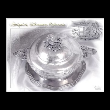 Antique French Sterling Silver Vegetable Dish Coat of arms & Crown Baron. 1760 Gr.