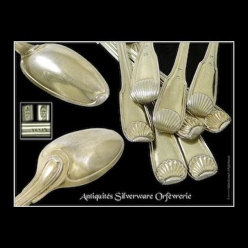 Strasbourg - Antique French Sterling Silver & Vermeil  Coffee Spoons -.By JEAN STAHL -  18th. c.