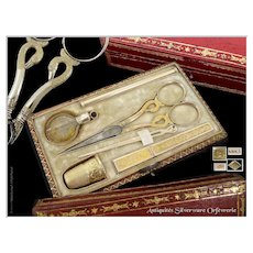 Empire Era - Antique French Sterling Silver Sewing Set, Scissors, Thimble, Crystal Bottle...