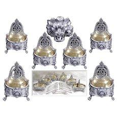 Antique French Sterling & Vermeil Open Saltcellars  Set & their Twelve Spoons - Minerve