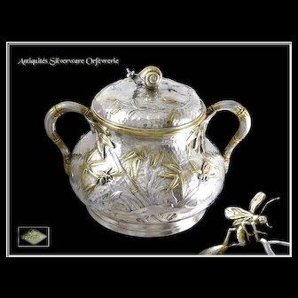 A  Rare French Sterling Silver Covered Sugar Pot, Edmond Tétard, Paris, circa 1880 - Minerve 950.