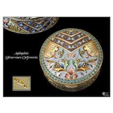 Antique Russian Polychrome Pills Box - Silver, Vermeil & Cloisonne Enamel
