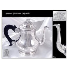 Abbeville - Picardie, French Province -  Antique Sterling Silver Tea Pot - Coast of Arms 18th. C