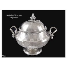 P.F Queillé - 19th.c - Outstanding Antique French Guilloche Sterling Silver Sugar Bowl
