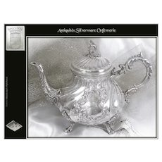 Antique French Sterling Silver TeaPot Louis XV Style- Silversmith : Gaston Bardies XIXth.c
