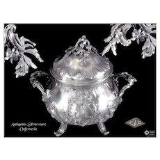 E. PUIFORCAT - Antique French Sterling Silver & Vermeil Sugar Bowl- Minerve 950