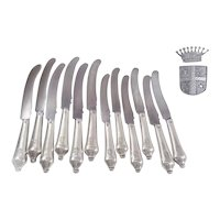 AUGER Frères : Sumptuous & Rare French Silver 12 Knives for 6 Guests. Coat of Arms & Crown of Count (950/1000)