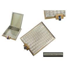 ART-DECO - J-LACLOCHE - French Silver, Vermeil & Saphir Powder Compact Circa 1930