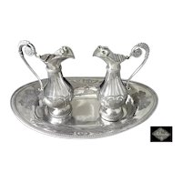 Antique French Sterling Silver Pair of Church Cruets and their Tray early 19th C.