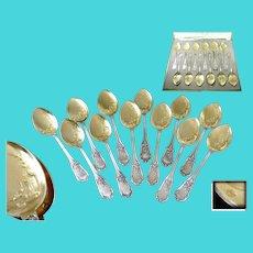 Eugène Lefèbvre Paris - Antique French Sterling Silver & Vermeil Ice Cream Spoons - 12 Guests Minerve 950