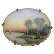 1930's Olive Commons Hand Painted Cameona Miniature Florida Painting Pin