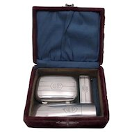 ca. 1900 Wm. B. Kerr Sterling Silver 3 Pc Travel Set Original Box Monogrammed