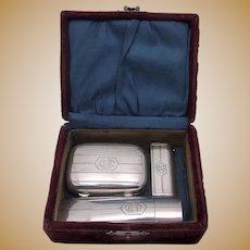 ca. 1900 Wm. B. Kerr Sterling Silver 3 Pc Travel Set Original Box Monogrammed