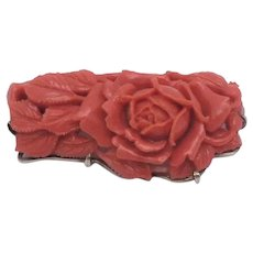 14K Gold Carved Coral Brooch Pin Rose & Leaf Design High Relief Carving