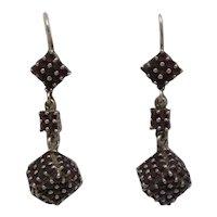 """Czechoslovakia 900 Silver 1 1/2"""" Drop Rose Cut Garnet Dangle Earrings"""