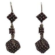 """Outstanding Vintage Czechoslovakia 1 1/2"""" Drop Rose Cut Garnet Dangle Earrings"""
