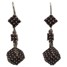 "Czechoslovakia 900 Silver 1 1/2"" Drop Rose Cut Garnet Dangle Earrings"