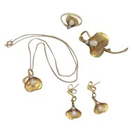 14K Yellow Gold Pearl & Diamond Demi-Parure - Necklace, Earrings, Pin & Ring