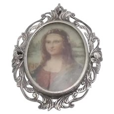 Hand Painted Portrait Pendant Pierced Etched 800 Silver