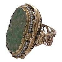 Incredible Huge 14K Carved Jade Seed Pearl Ring Ornate Design