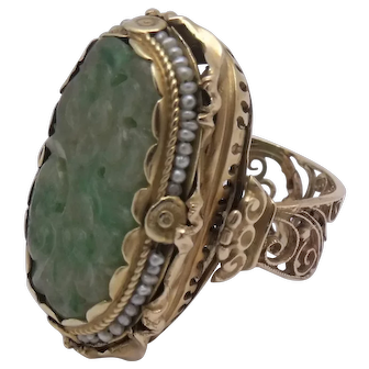 Incredible Huge 14K Carved Jade Seed Pearl Ring Ornate Design