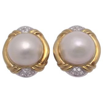Vintage 14K Mabe Pearl & Diamond Clip Earrings