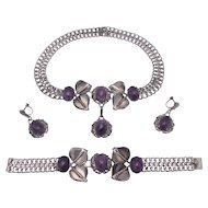Vintage Far Fan 1940's Sterling Mexico Amethyst Cabochon Demi Parure Set