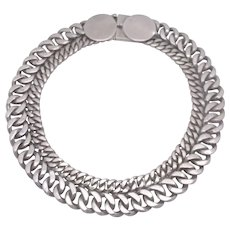 TAXCO 980 SILVER Double Curb Link Chain Necklace 197.3g