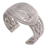 Vintage Mexico Sterling Cuff Bracelet Lady Playing Harp Design