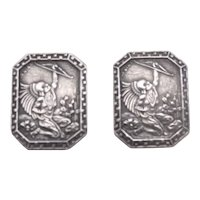 Vintage Sterling Silver Cufflinks Signed S DIAZ Warrior w/ Bow