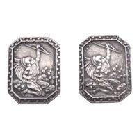 Vintage Sterling Silver Cufflinks Signed S DIAZ Warrior w/ Bow
