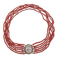 Victorian Mourning Necklace Six Strands Natural Coral Beads ca. 1860's